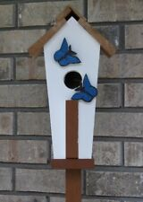 Handmade Decorative Or Functional Birdhouse With Post Stand.