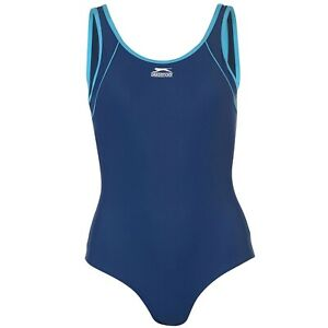 LADIES NAVY BLUE SLAZENGER LINED ONE PIECE SWIMSUIT SWIMMING BATHING COSTUME