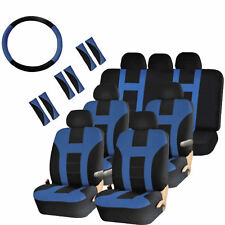 Seat Covers Split Bench for Vans 30pc Blue & Black Steering Wheel Belt HeadRest