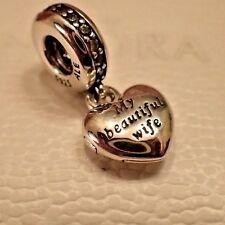 Authentic Pandora 791524CZ  My Beautiful Wife Heart Locket Charm Dangle