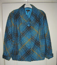 Oscar B - Teal, Gold & Brown Check 35% Wool Jacket With Tags UK22 (48)