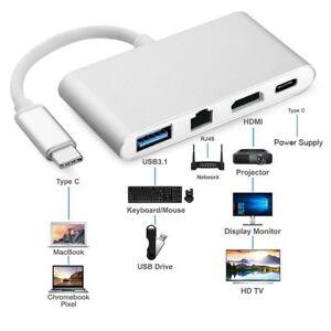 Type C to HDMI 4K TV w RJ45 Ethernet Lan Network Card USB 3.0 USB-C to Laptop PC