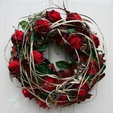 Herbstkranz XXL Türkranz Kranz Dekokranz Naturkranz mit roten Rosen 50 cm