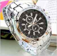 Mens Watches Quartz Stainless Steel Analog Sports New Wrist Watch Men Black