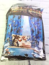"Disney Pirates of the Caribbean Jack Sparrow Curtain Set 66""x72"" & Tie Back RARE"