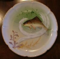 """Wm GUERIN & Co. LIMOGES FRANCE  9"""" FISH PLATE 2 DECORATED BY  CHAS REDMOSTON"""