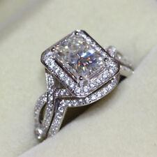 Wedding Ring Set 14K White Gold(Size-6.5) 3.55Ct Cz White Radiant Cut Engagement
