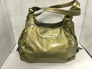 Coach Madison Metallic Leather Maggie Hobo Shoulder Handbag Gold Retail $498