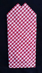 POCKET SQUARE Red Gingham Check  dbl Point CUSTOM  Folded & Sewn