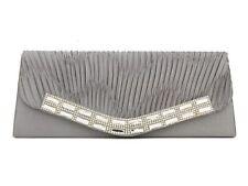 Plata Diamante Plisado de Noche Clutch Bag