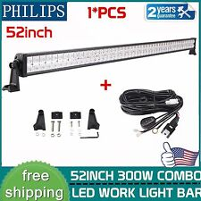 Philips 52inch 300W Combo Flood Spot LED Offroad Light Bar Ford 4WD + Wiring Kit