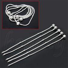 1 20pcs 19cm Silver Plated Snake Chain Bracelets Fit European Beads Charm Clasp 1pcs