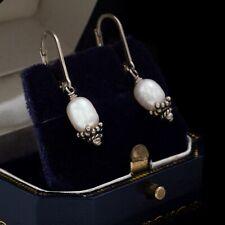 Antique Vintage Art Deco Style Sterling Silver Freshwater Pearl Dangle Earrings