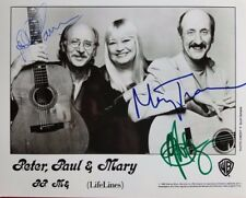 """Peter Paul And Mary"" Group Signed 10x8 B&W Photo Todd Mueller COA"