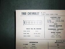1960 Chevrolet SIX Series 1100, 1300, 1500 & 1700 235.5 CI L6 Tune Up Chart