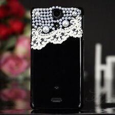 Samsung Galaxy ATIV S GT-i8750 Hard Case Etui Bumper Tasche Perlen Schwarz 3D