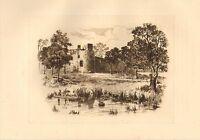 c1900 PRINT ~ LOCH LEVEN CASTLE SCOTLAND ~ MARY STUART'S TOWER