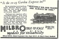 Milbro Standard Electric Tank Locomotive Advert - Original Pre-War 1937