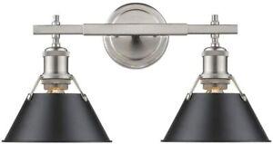 Golden Lighting-Orwell - 2 Light Bath Vanity Matte Black Shade Pewter