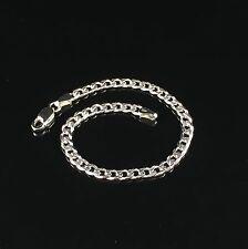 "925 Sterling Silver Solid Baby Children Curb Pave Bracelet 6"" Free Postage 3.4gr"