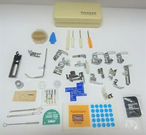 Vintage Lot Kenmore Sewing Machine Attachments with Plastic Case Plus More
