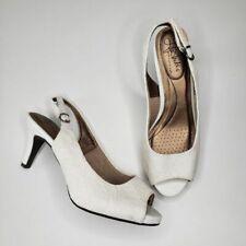 Life Stride | Bridal White Lace Peep Toe Slingback Heels Wedding Women's 6.5