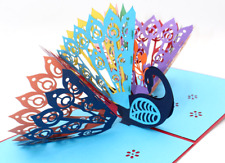 New Greeting Card 3D PopUp Colorful Peacock Birthday Anniversary Thanksgiving 85