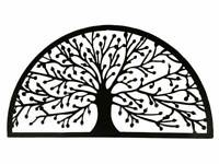 Black Metal Tree of Life Wall Art Laser Cut Outdoor Garden Sculpture 80x45cm