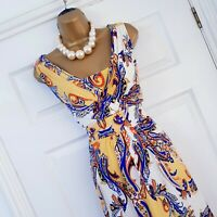 NIGHTINGALES Dress Size 14 Yellow Blue Paisley Print Midi Occasion Evening party