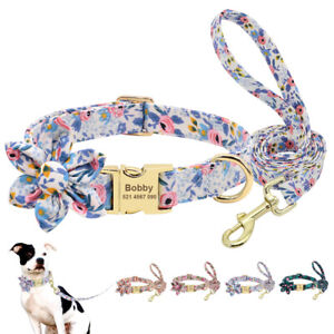 Personalized Dog Collar and Leash Set Nylon Floral Flower Color Custom ID Name