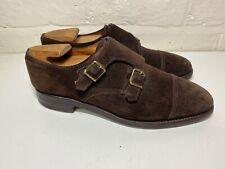 John Lobb William Double Monk Strap Suede Shoes, UK 7.5E Very Good