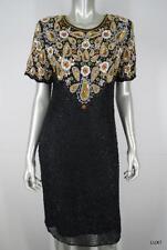 LAWRENCE KAZAR M L 100% Silk Black Gold Beaded Sequin Evening Formal Dress EUC