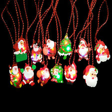 Vintage Christams Santa Clause Pendant Long Chain Necklace LED XMAS Jewelry Gift
