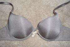 Victoria's Secret Gray Satin & Lace Padded Underwire Bra Size 32B