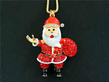 Red Santa Claus Betsey Johnson  Pendant Necklace N05