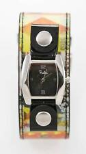 Relic Watch Womens Stainless Steel Silver Hologram Wide Leather Gray Quartz