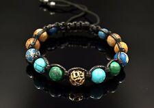 Herren Armband Shamballa Edelstein Jaspis Malachit verstellbar Geschenk für Mann