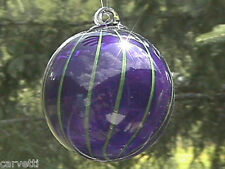 "Hanging Glass Ball 4"" Diameter Cobalt Blue with Lime Lines Witch Ball (1) HB14"