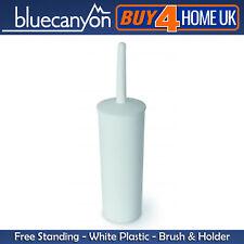 Blue Canyon Plastic Elegent Design Bathroom Toilet Brush & Holder White NEW