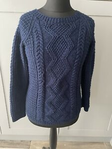Handknitted Chunky Knit Cable Navy Blue Jumper Size Medium