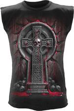 SPIRAL SKULL BLEEDING SOULS Sleeveless Top/Biker/Celtic Cross/Rock/Metal/Goth
