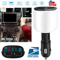 Dual USB Car Charger Adapter LED Display Fast Charging For Samsung iPhone