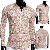 Men's Casual Dress Vivid Shirt Floral Printed 100% Cotton Slim Fit White Stag