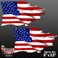 USA TATTERED Flag Sticker 2 Pack American Car Truck Bumper Vinyl Decal #FS2013