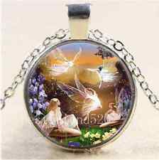 Fairy Ballet Photo Cabochon Glass Tibet Silver Chain Pendant Necklace