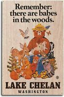 Lake Chelan, Washington - Smokey Bear - Babes in The Woods - Vintage Wood Sign