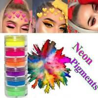 6 Colors/Set Lasting Glitter Nail Eyeshadow Pigment Makeup Neon Powers Nail Art