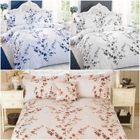 Luxury Print Floral Henley Duvet Cover Set Single Double King Quilt Bedding Sets