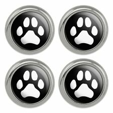 Paw Print Dog Cat White on Black Metal Craft Sewing Novelty Buttons - Set of 4