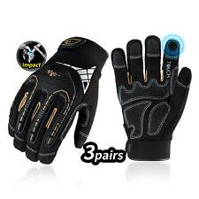 Vgo 1/2/3 Pairs Heavy Duty Work Gloves,Mechanic Gloves Impact-Absorb(SL8849)
